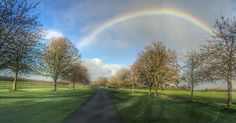 Awesome #rainbow this morning. This is the view back down the drive from Pre-School! Don't drive and shoot! #charltonpark #malmesbury #wiltshire #iphone #snapseed
