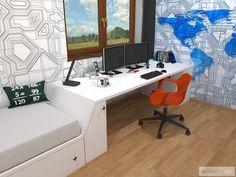 Dětský pokoj pro malého technika – RD Moravičany   očkodesign Corner Desk, Furniture, Home Decor, Corner Table, Decoration Home, Room Decor, Home Furnishings, Home Interior Design, Home Decoration