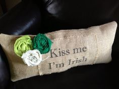 St. Patrick's Day Burlap Pillow by VineandWineBoutique on Etsy, $28.00