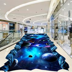 Beibehang papel de parede benutzerdefinierte boden wasserdichte stereo aufkleber 3d boden fliesen aufkleber bodenbelag universum planeten mural(China (Mainland))