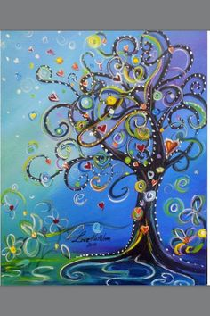 Original Modern Swirly Whimsical Tree Acrylic Painting SALE by Kathleen Fenton via Etsy. Art Fantaisiste, Arte Fashion, Nail Fashion, Art Diy, Whimsical Art, Tree Art, Oeuvre D'art, Painting Inspiration, Painting & Drawing