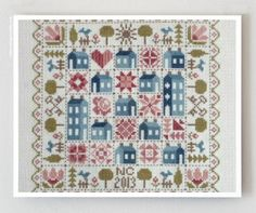 Patchwork Houses French cross stitch pattern by Jardin Prive at thecottageneedle.com