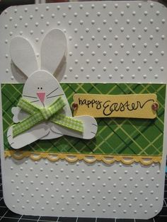 handmade Easter card ... punch are bunnie ... green plaid paper band ... lots of dots from embossing folder texture ... great card!!