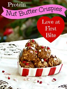These Protein Nut Butter Crispies with Cacao Nibs make a healthy treat for your sweetie this Valentine's Day. Make an extra batch to stash in your gym bag or purse for a protein snack that keeps you going all day. XOXOX - healthy hugs and kisses! Healthy Dessert Recipes, Healthy Treats, Delicious Desserts, Snack Recipes, Yummy Food, Chocolate Protein Powder, Nut Butter, Almond Butter, Protein Snacks