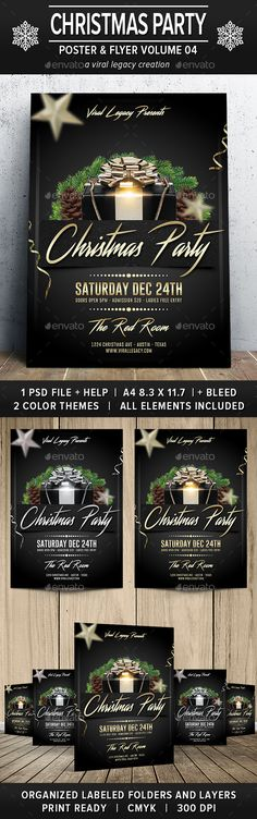 Buy Christmas Party Poster / Flyer by Viral-Legacy on GraphicRiver. This poster and flyer is designed to assist in the promotion of a Winter or Christmas holiday social event and it con.