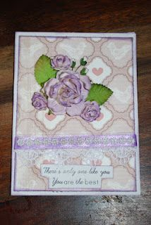 "Mothersdaycard I made for my mom =) Using the KinderstampO ""Friendship"" stampset and I Am Roses flowers =)"