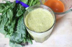 Carrot-Ginger-Orange Smoothie (141 cals)...  Ingredients  1 cup fresh, pure carrot juice (organic if possible) 1 organic orange, peeled 1 big handful of organic spinach 1 small square of ginger 1 to 2 handfuls of ice  Directions      Place carrot juice, orange, spinach, and ginger in blender.     Blend on medium speed for about 30 seconds.     Add ice and finish blending.