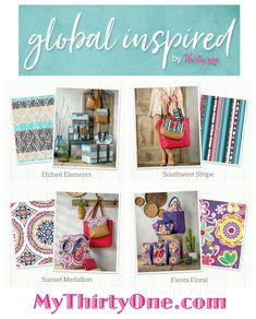 #31 NEW Global Inspired prints from Thirty-One Gifts… Special prints, new in April 2018, include Etched Elements, Southwest Stripe, Sunset Medallion and Fiesta Floral. See everything at MyThirtyOne.com/PiaDavis or find your own consultant online. Check out items like the Large Utility Totes, Retro Metro, Thermals, Studio Thirty-One and more. These new prints coordinate with many of the 31 solid colors.