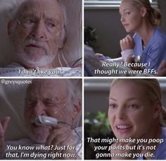 Loved the scenes with old man in a coma ⒻⓄⓁⓁⓄⓌ ⓅⒾⓃ ⒶⒹⒹⒾⒸⓉ Greys Anatomy Funny, Grey Anatomy Quotes, Greys Anatomy Season 4, Grey's Anatomy, Tv Show Quotes, Movie Quotes, Grey Quotes, Dark And Twisty, Medical Drama