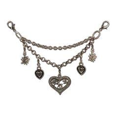 Dirndl Charivari Heart Alpenflüstern (antique silver-colored) - fine costume jewelry, ladies Charivari with heart, edelweiss and Heart Penda ...