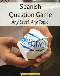 Spanish question game for any topic or level. Students pass paper cabbage like Hot Potato and peel off leaves with questions to answer. Spanish question game for any topic or level. Spanish Lessons For Kids, Spanish Basics, Spanish Games, Spanish Teaching Resources, Spanish Lesson Plans, Ap Spanish, Spanish Phrases, Spanish Activities, Spanish Language Learning