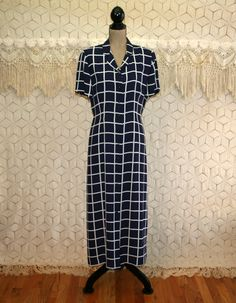 Vintage 90s Button Up Dress Large Short Sleeve by MagpieandOtis