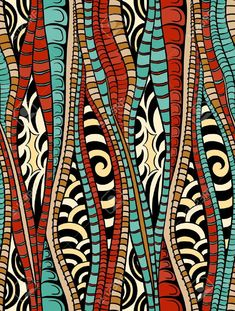 Illustration of Abstract colorful seamless pattern with lines vector art, clipart and stock vectors. Line Art Design, Motifs Textiles, Textile Patterns, African Textiles, African Fabric, Afrique Art, Arte Tribal, Tribal Patterns, African Patterns