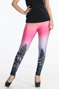 2013 Hot fashion women skinny cosmos pink jeggings galaxy space leggings black milk tights stretch tree printed pants