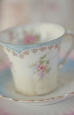 soft blue and white tea cup with flowers