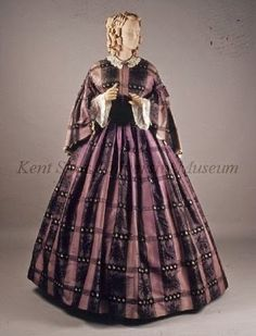 Purple plaid silk dress, 1850s