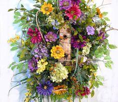 Front Door Wreaths, Spring Wreath, Ladybug Wreaths, Spring Door Decorations, Wreaths For Front Door, Summer Wreaths, Outdoor Wreath