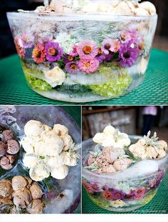 Beautiful ice sculpture with fresh flowers frozen inside! Topped with yummy ice cream.
