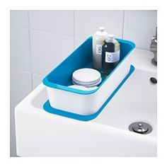 IKEA GESSAN Stackable box with Lid - $4.99 A clever and stackable storage solution for smaller personal items that also fits the drawers and sink of YDDINGEN sink cabinet perfectly. Easy to clean.
