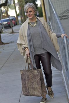 Great way to wear beige with gray hair and not get washed out -- layer it over gray!