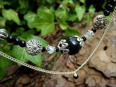 Collier double rangs Spinelle facettée, Labradorite blanche, Obsidienne oeil céleste, onyx: ᘛ Etreinte rituelle ᘚ : Collier par atelier-bijoux-legendaires