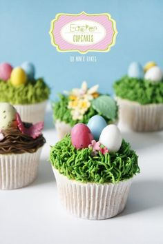 Use grass piping tip to make grass and bird nests for Easter (Cupcakes)