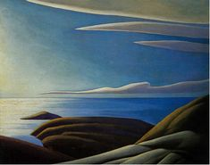 Lawren Harris Lake Superior III, c. Group of Seven Tom Thomson, Group Of Seven Artists, Group Of Seven Paintings, Canadian Painters, Canadian Artists, Landscape Art, Landscape Paintings, Landscapes, Emily Carr Paintings