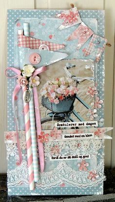 No instructions but too pretty not to post Scrapbook Paper Crafts, Scrapbook Cards, Straw Crafts, Shabby Chic Cards, Handmade Tags, Paper Straws, Pretty Cards, Card Tags, Creative Cards