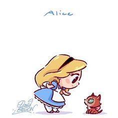Disney Chibies's of Alice & Dinah Facebook.com/artofdavidgilson/ davidgilson.tumblr.com/ #Alice #aliceinwonderland #aliceaupaysdesmerveilles #Dinah #Disney #fanart #DavidGilson