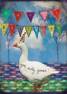Goose partij groet verjaardagskaart papier door gildinglilies