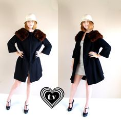 vtg 60s black wool Mahogany MINK COLLAR Swing by TigerlilyFrocks, $135.00