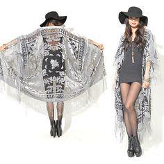 Sheer Silk Burnout Velvet Fringe Hippie Boho Gypsy Cape Festival Kimono Jacket | eBay