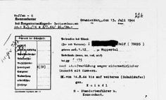 An official order incarcerating the accused in the Sachsenhausen concentration camp for committing homosexual acts