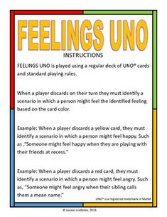 Nurses Discover Feelings Uno Turn the classic game of UNO into a counseling game that can help teach students about feelings! Print the poster page and use as a visual to remind kids of matching feelings to card colors. Group Therapy Activities, Counseling Activities, Therapy Games, Group Counseling, Social Work Activities, Therapy Ideas, Therapy Tools, Speech Therapy, Counseling Posters