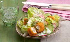 Gurken-Radieschen-Salat mit Kräuterfisch   Knorr