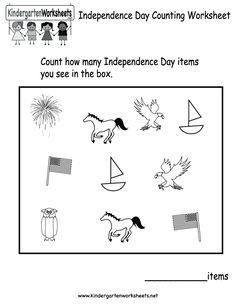 kindergarten independence day counting worksheet printable - Free Printable Holiday Worksheets