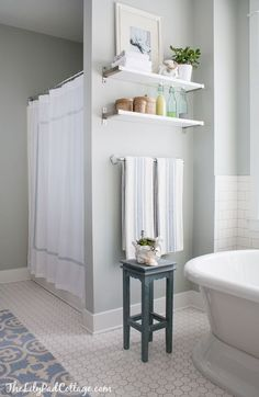 White Hex Tile in the Bathroom | The Lilypad Cottage