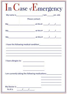 ICE In Case Of Emergency Forms