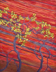 """Vermilion Cliffs"" art quilt by Aileyn Renli Ecob. SAQA Northern California. LaConner International Quilt Festival, 2012."