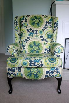 This fabric is great! Tutorial for Re-Upholstering a Wing Back Chair