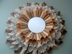 Sunburst Mirror with Paper Ephemera ~ * THE COUNTRY CHIC COTTAGE (DIY, Home Decor, Crafts, Farmhouse)