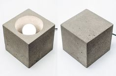concrete lamp CUBE15 handmade. concrete light by dtchss on Etsy