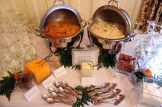 Mashed Potato Bar- use plain spuds and sweet potatoes! Great for a party, or even a wedding.