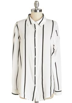 Downtempo DJ Top. The contemporary look of this vertically striped oxford adds that extra layer of cool to your ambient tunes.  #modcloth
