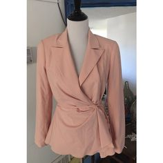 Trina Turk Blush/Pink Blazer I'm selling this gorgeous Trina Turk blazer in a really pretty soft pink/blush color. The blazer has strings in several places to make a wrap detail and a little fluttering around the edges to add something special. A few very small imperfections (pictured) but otherwise a beautiful, amazing designer piece. Size 8. Trina Turk Jackets & Coats Blazers