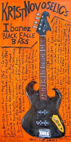 Krist Novoselic Painting - Krist Novoselics Ibanez Bass by Karl Haglund