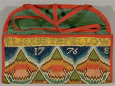 14. Elizabeth Fellows, Pocketbook, 1776. Wool on linen, cotton, 4 ½ × 8 ⅝ in. Collection of Jonathan and Karin Fielding, Los Angeles.