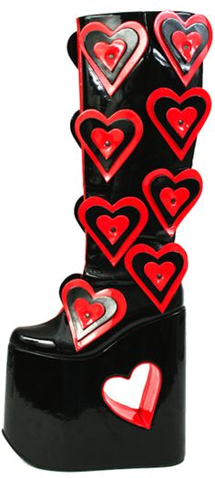 Vintage shoes - Luichiny - Super Mod Luichiny boots with black and red hearts - 1990s - Spain