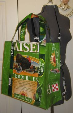 Tote from chicken feed bag.