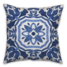 World Menagerie Hubbert Watercolor Damask Tile Throw Pillow Size: x Color: Blue Blue And White Pillows, White Throw Pillows, Colorful Pillows, Blue Pillows, Throw Pillow Sets, Outdoor Throw Pillows, Cream Sofa, Living Room Orange, Blue Couches